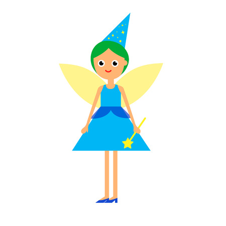 enchantress: Cartoon flat illustration girl fairy in blue dress with wings cap and magic wand isolated on white background vector eps 10