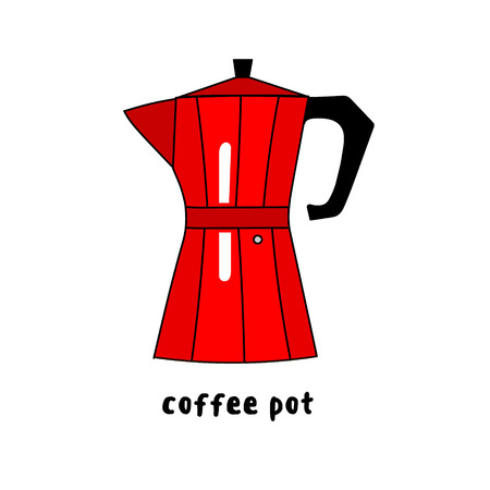 drawn metal: Illustration of hand drawn colorful red metal coffee maker isolated on white background vector eps 10