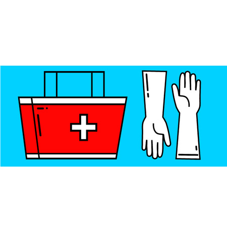 doctor gloves: Medicine icons pharmacy illustration flat linear isolated red case and gloves isolated on blue white background vector eps 10
