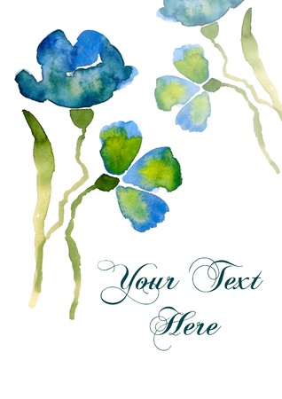 Nice watercolor blue flower with copy-space for your text Stock Photo