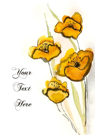 Yellow hand-painted flowers for your greeting card