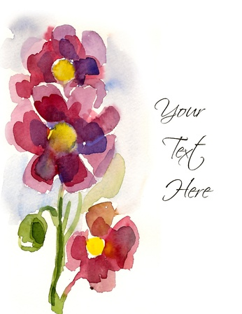 flower border pink: Pink hand-painted flowers for your greeting card