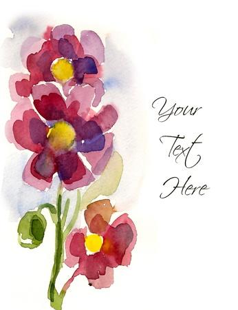 flores de cumplea�os: Rosas Flores pintados a mano para su tarjeta de felicitaci�n Foto de archivo