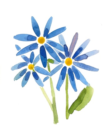 Blue flowers- handmade painting photo