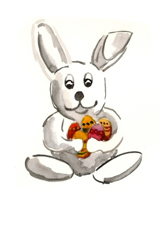 Bunny holding easter eggs Stock Photo