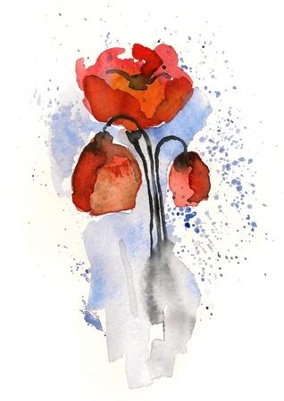 Handmade watercolor  Stock Photo