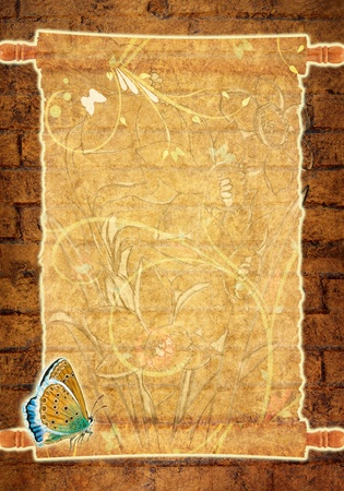 Grunge paper & butterfly Stock Photo