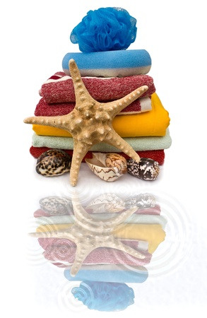 Colorful still life of towel and starfish