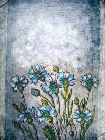 Flowers painting  on a blue grunge paper