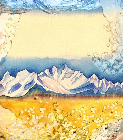 Watercolor painting of mountains view with space for text