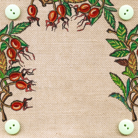 Dogrose berries painting on a sackcloth texture with space for the text