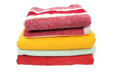 Colorful towels isolated on a white background