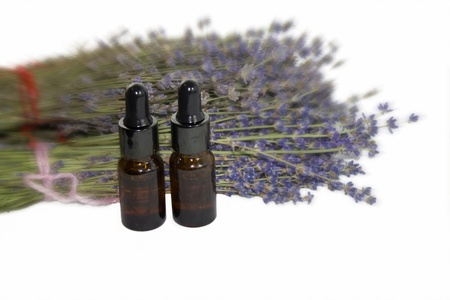 Lavender and aromatherapy bottles