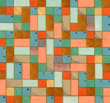Hand drawn square decorative geometrical background