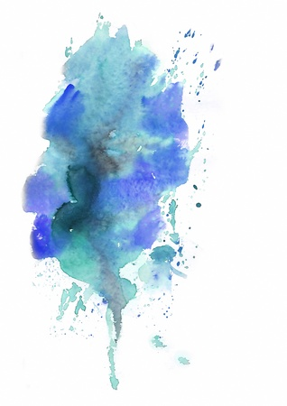 Blue Abstract background painted in watercolor Stock Photo