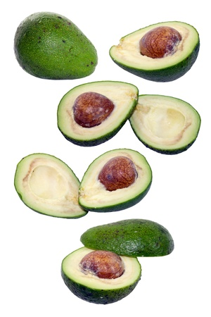 Avocado collection isolated on white photo