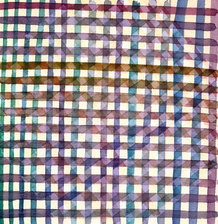 Geometric fabric painted in watercolor Stock Photo