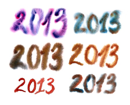 2013 Numbers painted in watercolor