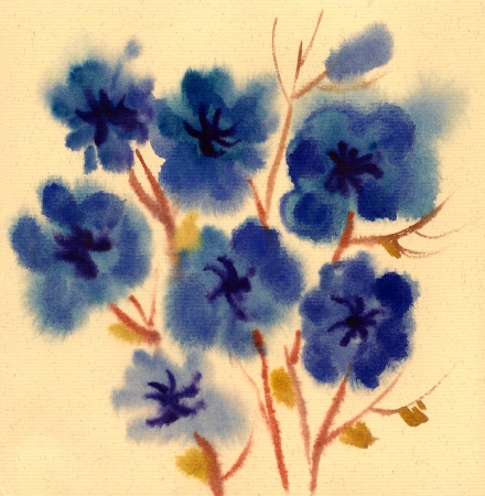 Blue Flowers painted in watercolor  isolated on a white background