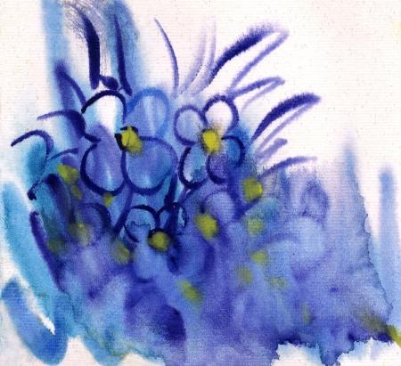 Blue Flowers painted in watercolor