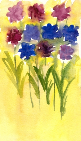 Flowers painted in watercolor on a yellow background  Stock Photo