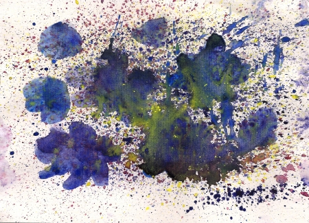 Watercolor blue flower with splash effects for your further design Stock Photo