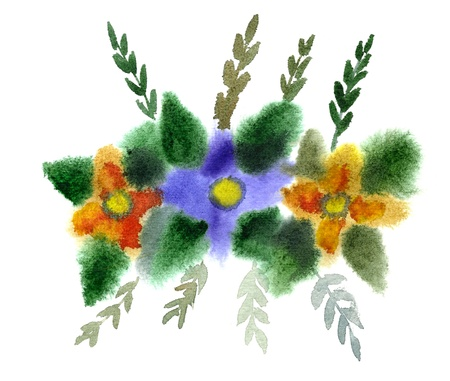 Bouquet of flowers painted in watercolor  isolated on white