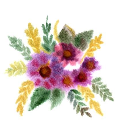Bukiet kwiatów malowane akwarelą na białym Zdjęcie Seryjne - 16379405