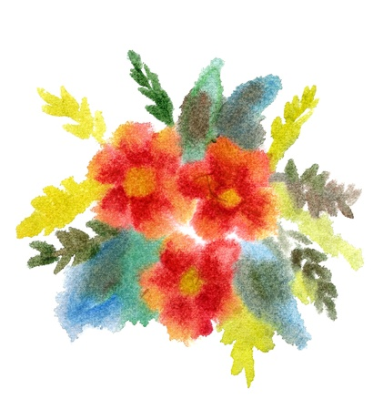 Red bouquet of flowers painted in watercolor  isolated on white