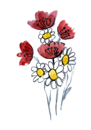 Red and white artistic flowers painted in watercolor  isolated on white