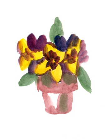 Flower-pot with pansy flowers painted in watercolor  isolated on white