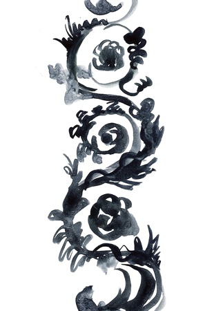 Floral meander ornament painted in watercolor for your further design Stock Photo