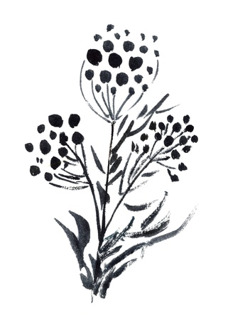 Graphic flowers painted in watercolor  isolated on white