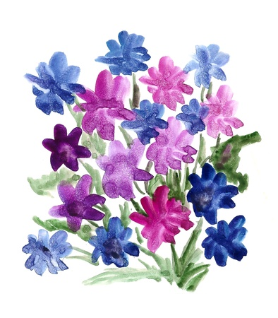 Blue bouquet of flowers painted in watercolor  isolated on white Stock Photo