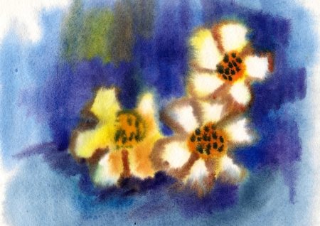 Flowers painted in watercolor on a blue background