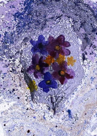 Nice Bouquet of watercolor flowers on a blue grunge background  Stock Photo