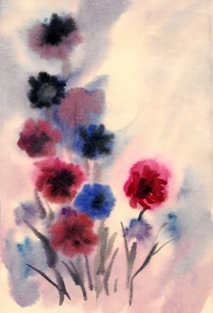 Nice flowers painted in watercolor