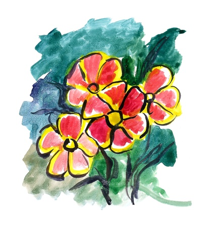 Red Flowers painted in watercolor  on a green background