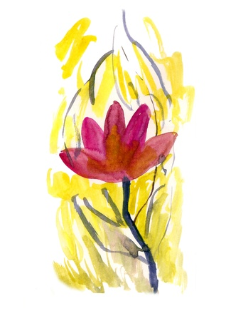 Pink flower painted in Watercolor with yellow elements Stock Photo