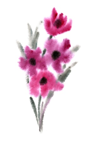 Pink flowers painted in watercolor   isolated on white Stock Photo