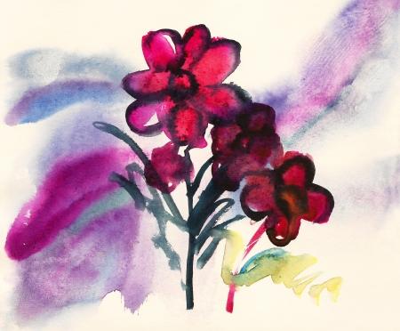 Pink flowers painted in watercolor