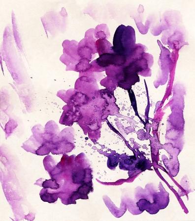 Purple grunge flowers painted in watercolor