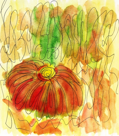 Abstract Flower painted in watercolor Stock Photo