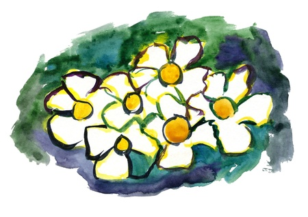 Flowers painted in watercolor with a green  background