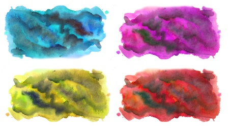 Four watercolor colorful banners Stock Photo
