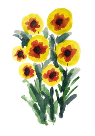 Bouquet of yellow  flowers painted in watercolor  isolated on white Stock Photo