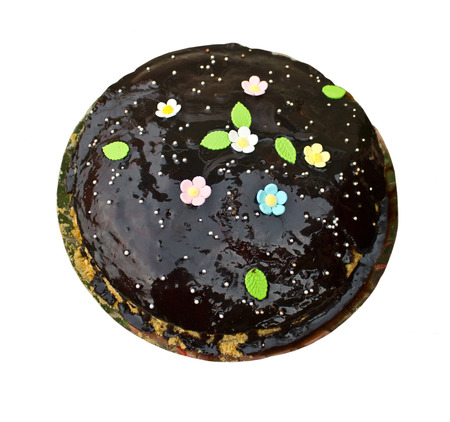 Sweet cake decorated with nice flowers