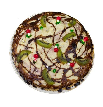 Sweet cake decorated with kiwi Stock Photo