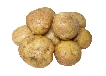 Raw potatoes isolated on white Stock Photo