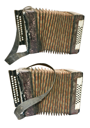 Two old button accordions isolated on white Stock Photo